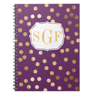Monogrammed Purple and Gold Glitter City Dots Spiral Notebook