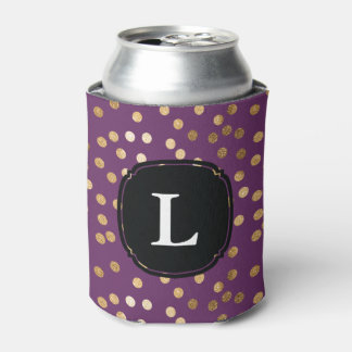 Monogrammed Purple and Gold Glitter Polka Dot Can Cooler
