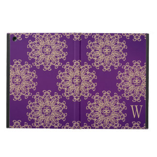 Monogrammed Purple and Gold Indian Pattern iPad Air Case