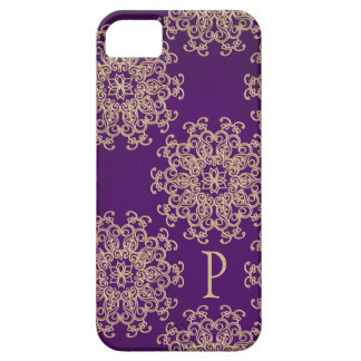 Monogrammed Purple and Gold Indian Pattern iPhone SE/5/5s Case