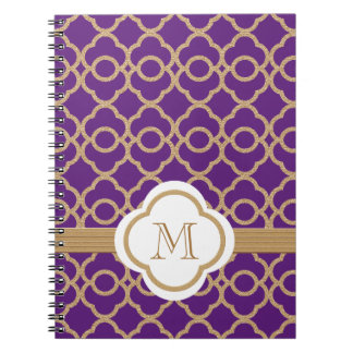 Monogrammed Purple and Gold Moroccan Notebook