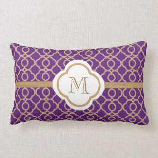 Monogrammed Purple and Gold Moroccan Pillow