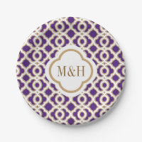 Monogrammed Purple and Gold Moroccan Wedding Paper Plate
