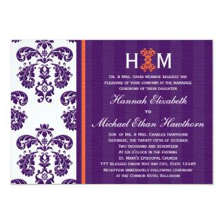 Monogrammed Purple and Orange Damask Wedding 5x7 Paper Invitation Card