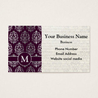 Monogrammed purple and silver damask business card
