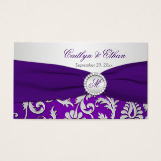Monogrammed Purple and Silver Damask Favor Tag