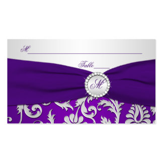 Monogrammed Purple and Silver Damask Place Cards Business Card