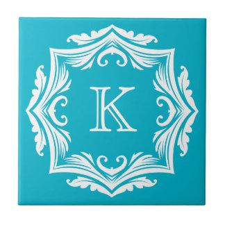 Monogrammed Purple and White Elegant Customizable Tile