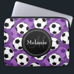 "Monogrammed Purple Black Soccer Ball Pattern Computer Sleeve<br><div class=""desc"">Cool cute chic trendy purple,  black and white soccer ball pattern with black nameplate for your custom monogram initial letter and name. Stylish background design featuring a colorful sporty pattern. Great gift for girls that love sports and monogrammed gifts.</div>"