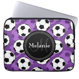 Monogrammed Purple Black Soccer Ball Pattern Computer Sleeve