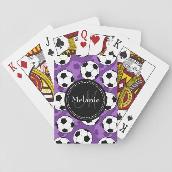 Monogrammed Purple Black Soccer Ball Pattern Playing Cards