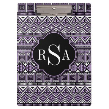 Aztec Themed Monogrammed Purple Black Tribal Pattern Clipboard