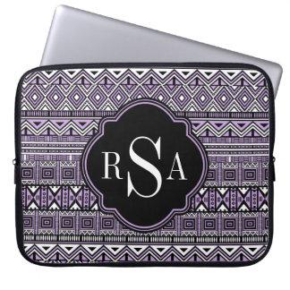Monogrammed Purple Black Tribal Pattern Computer Sleeve