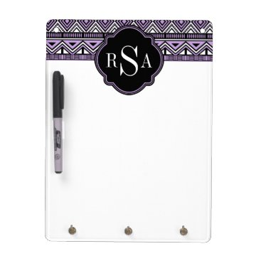 Aztec Themed Monogrammed Purple Black Tribal Pattern Dry Erase Board