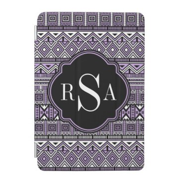 Aztec Themed Monogrammed Purple Black Tribal Pattern iPad Mini Cover