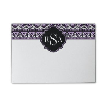 Aztec Themed Monogrammed Purple Black Tribal Pattern Post-it Notes