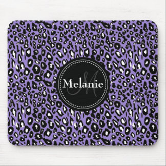 Monogrammed Purple Black White Leopard Pattern Mouse Pad