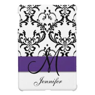 Monogrammed Purple Black White Swirls Damask iPad Mini Cover