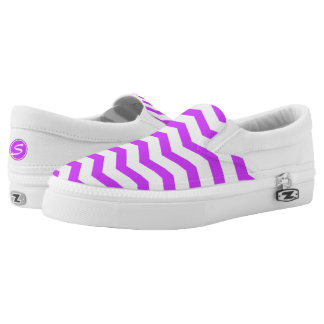 Monogrammed Purple Chevron Printed Shoes