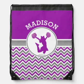 Monogrammed Purple Chevron Stripes Pom or Cheer Drawstring Backpack