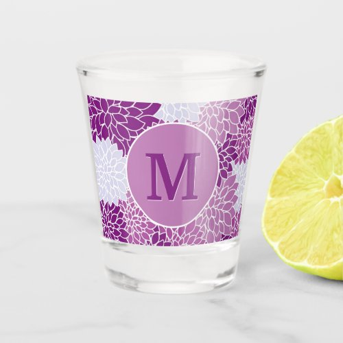 Monogrammed Purple Floral Pattern Shot Glass