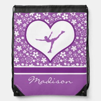 Monogrammed Purple Flowers Pattern Figure Skating Drawstring Bag