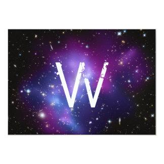 Monogrammed Purple Galaxy Cluster 5x7 Paper Invitation Card
