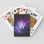 "Monogrammed Purple Galaxy Cluster Playing Cards<br><div class=""desc"">Single letter white monogram against space image of the blue and purple galaxy cluster MACS J0717 thanks to NASA and Hubble program..</div>"