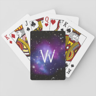 Monogrammed Purple Galaxy Cluster Playing Cards