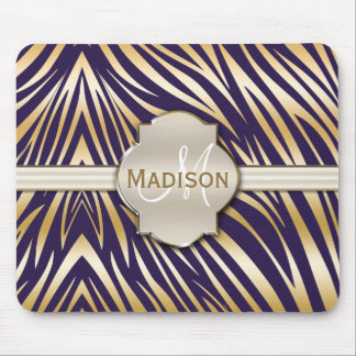 Monogrammed Purple Gold Zebra Print Pattern Mouse Pad