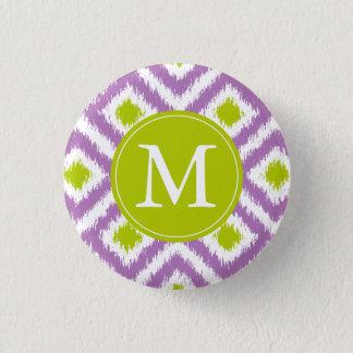 Monogrammed Purple Green Diamond Ikat Pattern Button