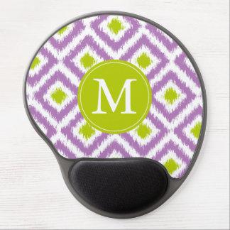 Monogrammed Purple Green Diamond Ikat Pattern Gel Mouse Pad