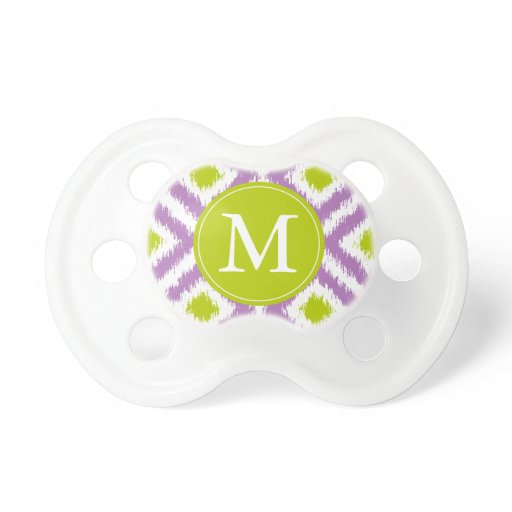Monogrammed Purple Green Ikat Pattern Pacifier
