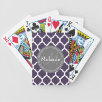 Monogrammed Purple & Grey Quatrefoil Bicycle Playing Cards