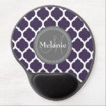 "Monogrammed Purple &amp; Grey Quatrefoil Gel Mouse Pad<br><div class=""desc"">Cool cute chic trendy purple,  grey and white Moroccan lattice quatrefoil pattern with gray nameplate for your custom monogram initial letter and name. Great gift for girly girls that love geometric patterns and monogrammed gifts.</div>"