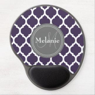 Monogrammed Purple & Grey Quatrefoil Gel Mousepads