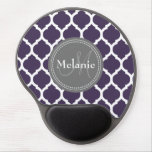Monogrammed Purple & Grey Quatrefoil Gel Mousepads