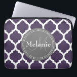 "Monogrammed Purple &amp; Grey Quatrefoil Laptop Sleeve<br><div class=""desc"">Cool cute chic trendy purple,  grey and white Moroccan lattice quatrefoil pattern with gray nameplate for your custom monogram initial letter and name. Great gift for girly girls that love geometric patterns and monogrammed gifts.</div>"