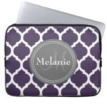 Monogrammed Purple & Grey Quatrefoil Laptop Sleeve