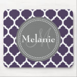 "Monogrammed Purple &amp; Grey Quatrefoil Mouse Pad<br><div class=""desc"">Cool cute chic trendy purple,  grey and white Moroccan lattice quatrefoil pattern with gray nameplate for your custom monogram initial letter and name. Great gift for girly girls that love geometric patterns and monogrammed gifts.</div>"