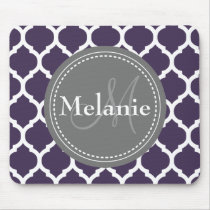 Monogrammed Purple & Grey Quatrefoil Mouse Pad
