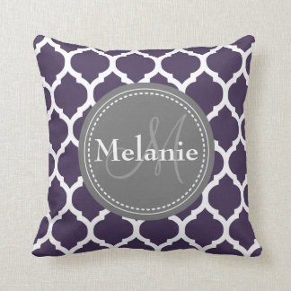 Monogrammed Purple & Grey Quatrefoil Throw Pillow
