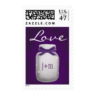 Monogrammed Purple Mason Jar with Fireflies Love Postage