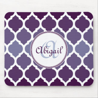 Monogrammed Purple Ombre Moroccan Lattice Pattern Mouse Pad