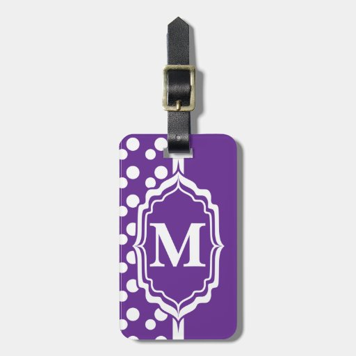 Monogrammed Purple  Polka Dot Tag Travel Bag Tags