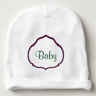 Monogrammed Purple Quatrefoil Frame Personalized Baby Beanie
