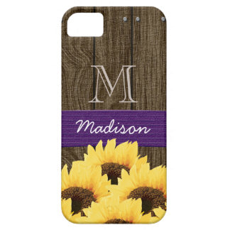 MONOGRAMMED PURPLE RUSTIC SUNFLOWER iPhone 5 COVER