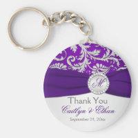 Monogrammed Purple, Silver Wedding Favor Key Chain