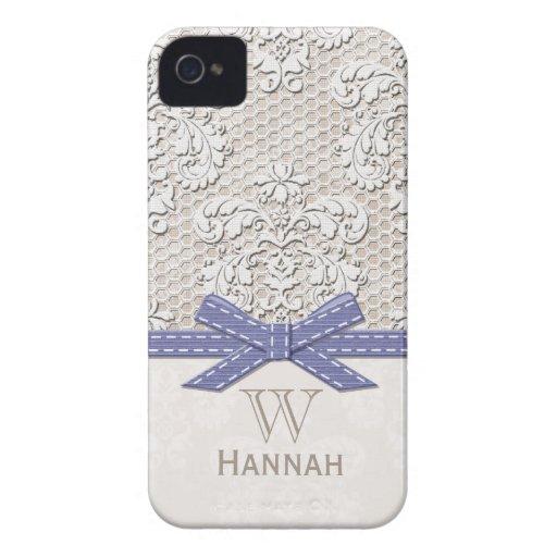 Monogrammed Purple Vintage Lace Pearl iPhone 4 Case-Mate Case