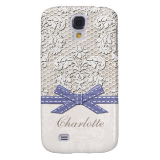 Monogrammed Purple Vintage Lace Pearl Samsung Galaxy S4 Cover